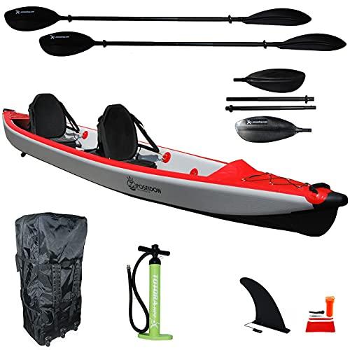 Canoa Kayak Gonfiabile Due posti Drop Stitch ad Alta Pressione Poseidon 2 Kit - + Pagaie Pompa e Borsa