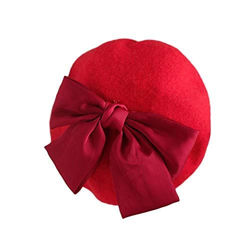 Niños Niñas Boinas Sombreros Otoño Invierno Cálido Gorros Gorra Artista francés Big Bowknot Sombreros para niños Niños pequeños Bebé Ropa de fiesta diaria Accesorios