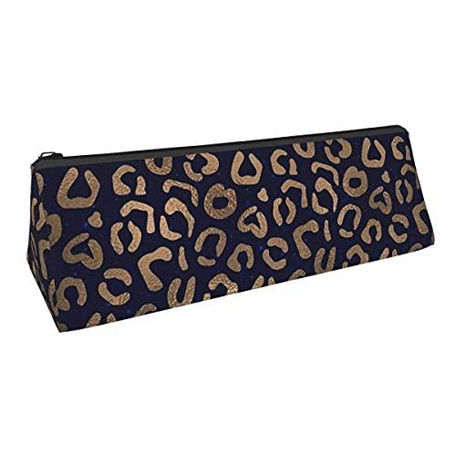 Bolsa de almacenamiento de cobre y leopardo de pequeña capacidad para bolígrafos de triángulo, para niños, niñas, universidad, escuela media, oficina, alicates de papelería