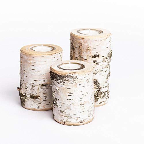 WOODS Teelichthalter aus Birken-Holz 3er Set | Kerzenhalter Holz-Deko Windlicht | Tisch-Deko Hochzeits Deko Teelicht | 3er Set 10, 12 & 14cm