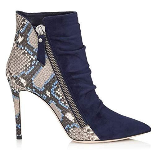 SHENAISHIREN Las señoras de Las Mujeres Cargadores del Tobillo, Las señoras de Dedo del pie Acentuado Botas Puntiagudas Estilete de los Cargadores del Tobillo Atractivas Zip Botas (Size : 37)
