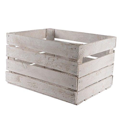 Caisse en bois pour rangement 40 x 50 x 30 cm Blanc Accessoires déco Maison