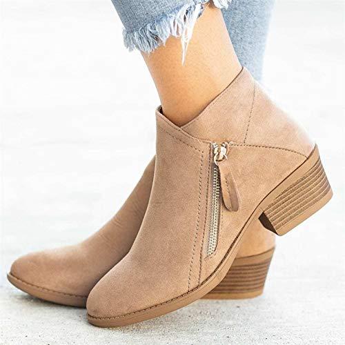 Hwcpadkj Damen Stiefelette, Frauen Chelsea Boots Doppelseitige Stiefeletten aus Wildleder mit Reißverschluss,Beige,38