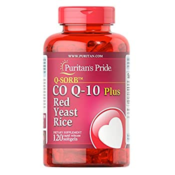 Q-Sorb CoQ10 Plus Red Yeast Rice,120 Rapid Release Softgels by Puritan s Pride Caramel No Flavor