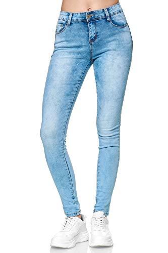Elara Damen Stretch Hose Push Up Jeans Gummizug Chunkyrayan YA1128 Lt.Blue 40 (L)