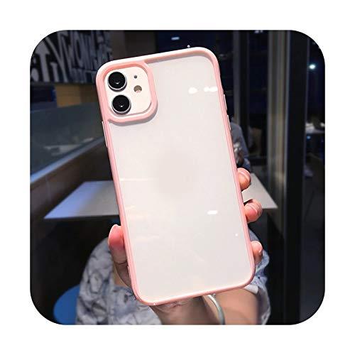 Colorido parachoques a prueba de golpes Trasparent teléfono caso para iPhone 12 Mini 11 Pro Max XR X XS Max 8 7 6S Plus SE 2020 transparente contraportada - rosa - para iPhone 6 6S Plus