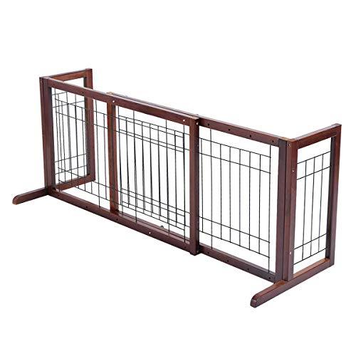 Heize best price Brown Wood Dog Gate Adjustable Indoor Solid Construction Pet Fence Playpen Free Stand
