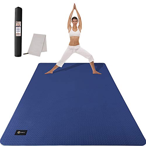 CAMBIVO Large Yoga Mat (6' x 4' x 6mm), Non-Slip Extra Wide Workout Mat, Eco-Friendly Barefoot TPE Fitness Mat, Multiple Uses for Home Gym, Workout, Yoga, Pilates (Blue)