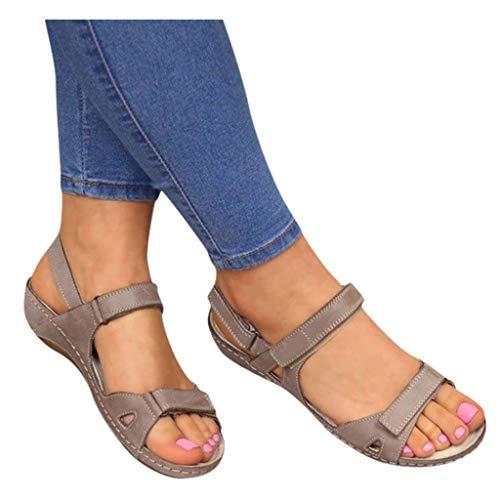 Dasongff - Sandalias planas para mujer con cierre de velcro, estilo ortopédico, estilo informal, con plataforma, para mujer 43 gris