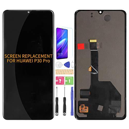 Not Original compatible para Huawei P30 Pro pantalla de reemplazo de pantalla LCD VOG-L29 VOG-L09 VOG-AL00 Touch digitalizador panel sensor de cristal kits (negro sin marco)(Sin huella dactilar)