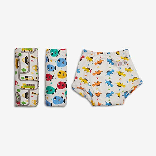Superbottoms Padded Underwear-Pack of 3 Potty Training Pants for Babies/ Toddlers/ Kids. 100% Cotton,Padded,Semi Waterproof,Pull Up Underwear Trainers For Girls and Boys (Size 2, Striking White)