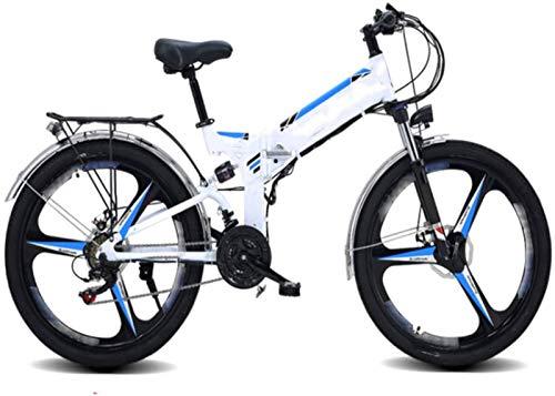 Bici electrica, 26 pulgadas bicicletas plegables eléctricos de bicicletas de montaña, 48V10AH batería de litio 21 Velocidad de la bici adulta posicionamiento GPS Deportes Ciclismo ( Color : White )