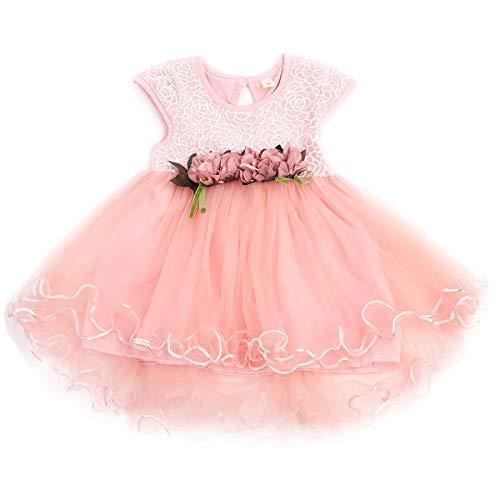 Chollius Abito da Battesimo Neonata Bambina 0-3 Anni Vestito da Principessa a Maniche Corte con Tulle Pizzo Vestito Elegante per Festa Cerimonia Compleanno (Rosa, 18-24 Mesi)