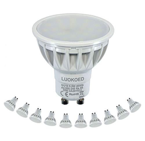 Gu10 LED Lampe Ersetzt 50W Halogen Neutralweiss 4000K 500-550lm Dimmbar LUOKOED® 10er