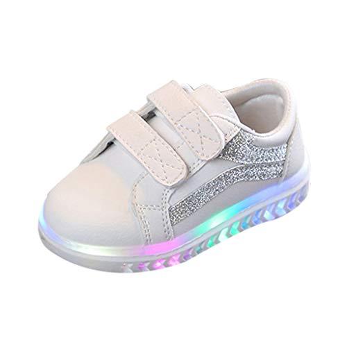 Allence Baby Kinderschuhe LED Mädchen Jungen, Licht Turnschuhe Leuchtend Blinkschuhe Sportschuhe, 21EU-30EU 1-6 Jahre (23 EU, Silber)