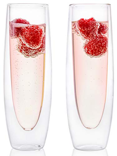 Glass Champagne Flutes - Set of 2 - Stemless Sparkling Wine Glasses - 5 oz -...