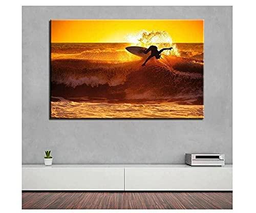 AMDPH Ilustración De Surf Al Atardecer Imágenes De Ilustraciones Impresas En Lienzo La Imagen para El Hogar Decoración Moderna Baño Decoraciones para El Hogar.