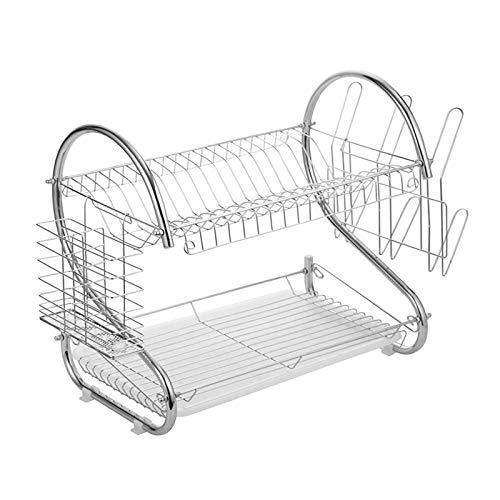 Fenteer Fer chromé 2-Tier assiette Rack avec drainage/couverts tasse porte-cuisine (argent)