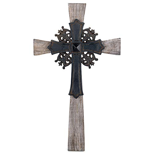 Dicksons Antiqued Intricate Double Layer 15 Inch Wood and Metal Decorative Hanging Wall Cross
