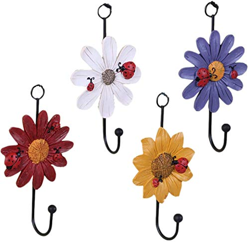Creative Daisy Resin Wall Hooks Wall Mounted Art Flower Iron Hook Hand-painted Hanging Coat / Hat /Key/ Towel Hooks Home Decoration(Set of 4)