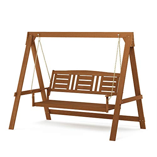 Furinno FG18415S Tioman Hardwood Patio Furniture 3-Seater Swing with Stand, Natural