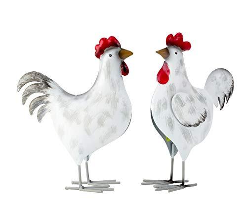 2er Set Vogelfiguren Hahn Henne je 21 cm Metallvögel Dekoration