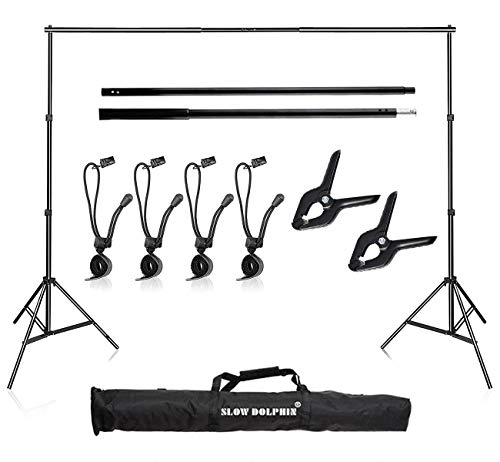 Slow Dolphin Photo Video Studio 10Ft Adjustable Backdrop Support System Kit Background Stand with Carry Bag