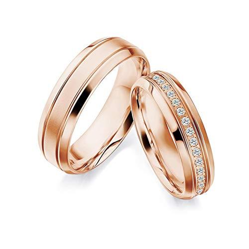 Epinki Anillo Oro Rosa 18k Mate Línea Diamante 0.23ct Anillos de Parejas