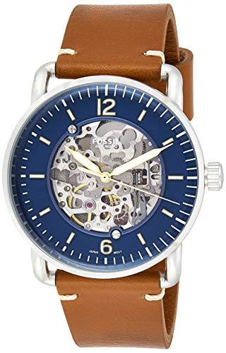 Fossil Herren Analog Automatik Uhr mit Leder Armband ME3159