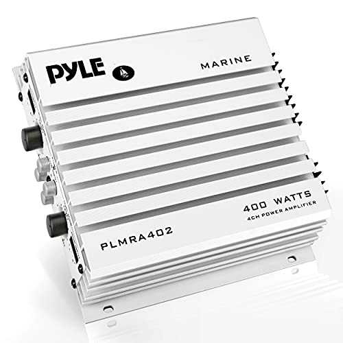 Elite Series Waterproof Marine Amplifier - 400 Watt 4 Channel Upgraded Hydra Amplifier System, Dual MOSFET Power Supply, GAIN Level Controls, RCA Stereo Input & LED Indicator - Pyle PLMRA402