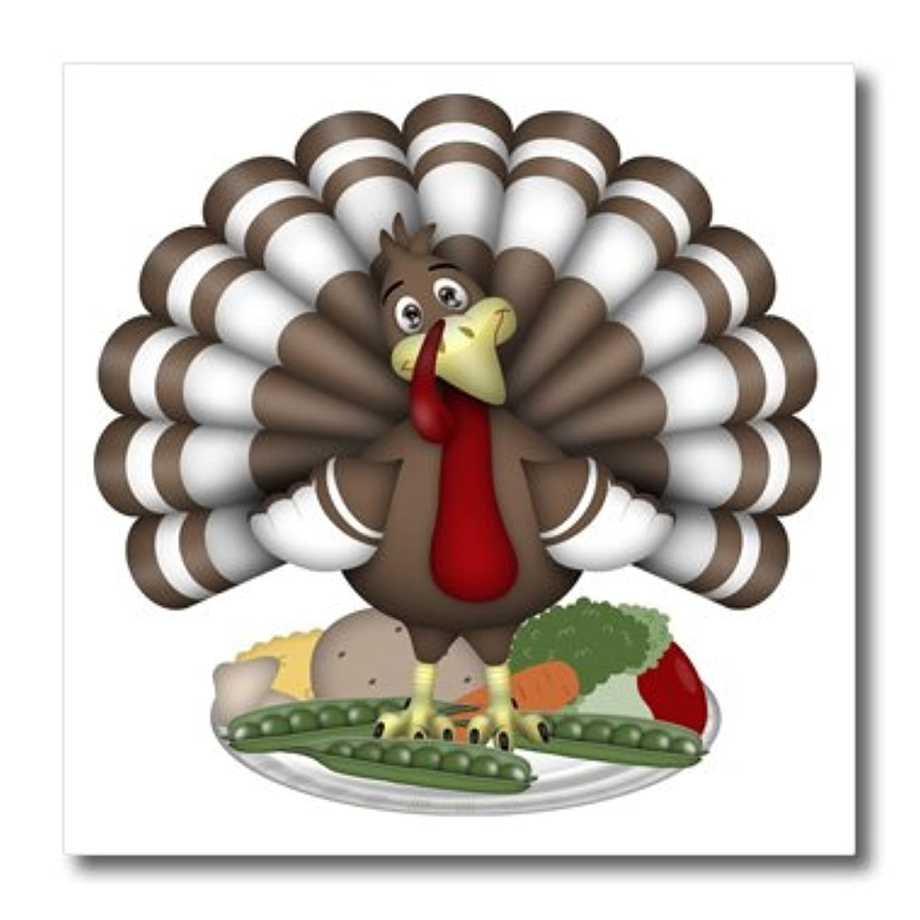 3dRose ht_216933_2 Cute Large Brown and White Thanksgiving Turkey on Vegetables Iron on Heat Transfer for White Material, 6