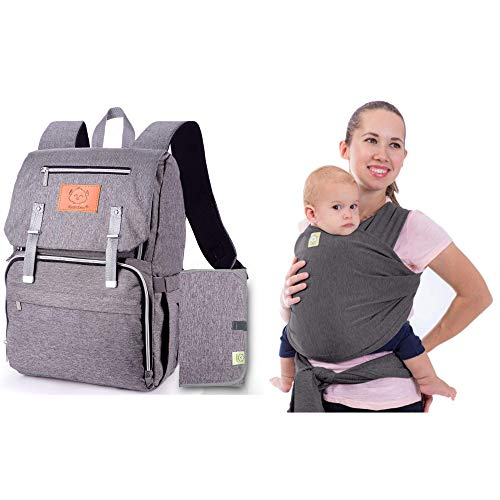 Hands Free Baby Wrap Carrier & Diaper Bag Backpack Bundle For New Mom & Dad - Explorer Diaper Travel Back Packs - Baby Wraps For Newborn - Stretchy Ergo Wrap Sling Carriers