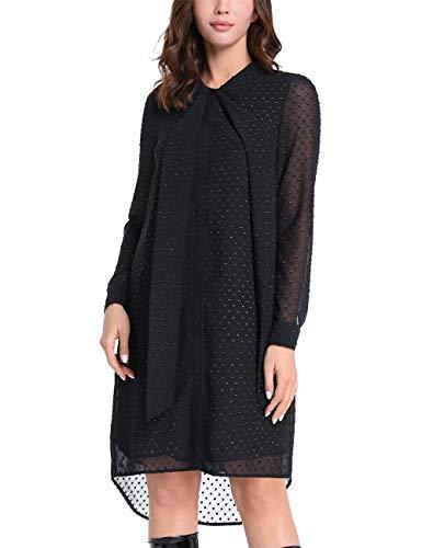 APART Elegantes Damen Kleid, Hi-Lo Chiffonkleid hochgeschlossen mit Schluppe, schwarz-Gold, 38