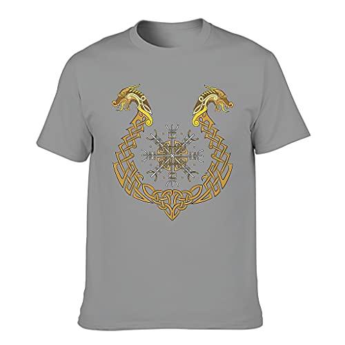 Camiseta de algodón para hombre, tiempo libre y verano Gris oscuro. XXXXXL