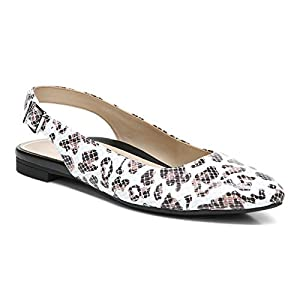 Vionic Women's Crystal Jade Flats - Slingback Pointed Flats with Concealed Orthotic Arch Support White Leopard 7.5 Medium US