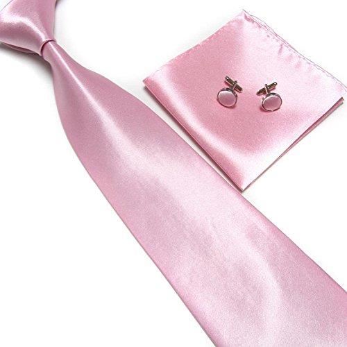LCN Cravate + Pochette + Bouton de Manchettes Satinée - Rose Clair- Neuf