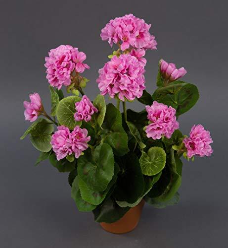 Seidenblumen Roß Geranie 36cm rosa -ohne Topf- LM Kunstpflanzen Kunstblumen künstliche Blumen Pflanzen Pelargonium