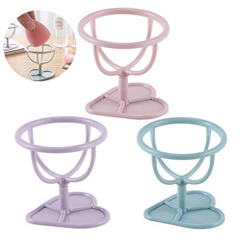 3pcs / set supports de mélangeur d'éponge de beauté gourde forme éponge Support d'Éponge à Fond de Teint en Forme d'ouf(rose/violet/bleu)
