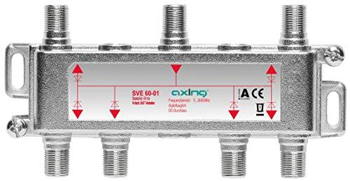 Axing SVE 60-01 Distributore partitore satellitare e digitale terrrestre 6 Vie, Splitter 5-2400 MHz, connettore F, con passagio DC