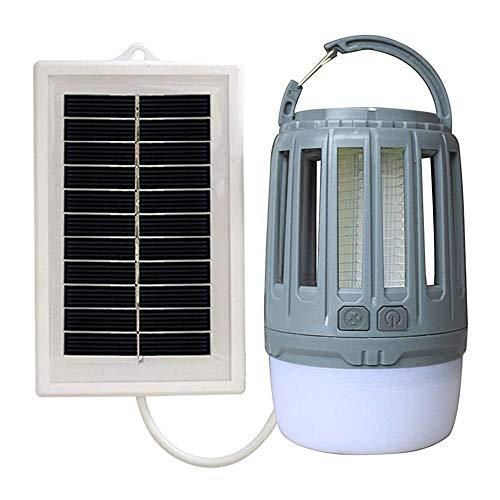 Lámpara Solar para Matar Mosquitos Al Aire Libre, Lámpara De Iluminación De Emergencia A Prueba De Agua, Lámpara Eléctrica para Mosquitos para Exteriores, Lámpara LED para Matar Mosquitos,Gris