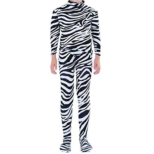 Toptie Zentai Einteiler für Erwachsene und Kinder, Halloween-Kostüm, Catsuit, Zebra
