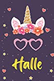 Halle: A daily unicorn gratitude journal for young girls,Personalized Unicorn gift ideas for Halle Gift with names,for Birthday Girls ,I'm Halle,purple unicorn decorations for birthday