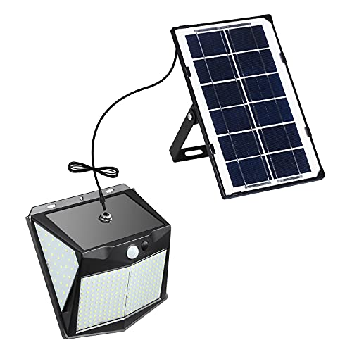 Vorally分離型ソーラーライト 屋外 人感センサー 240LED 3つ点灯モード 5m延長コード 4400mAh超大電池容量 玄関灯 自動点灯 電気代0 IP65防水 屋外ウォールライト 玄関先/庭/駐車場等屋内外に適応 日本語取扱説明書 (昼白色1個