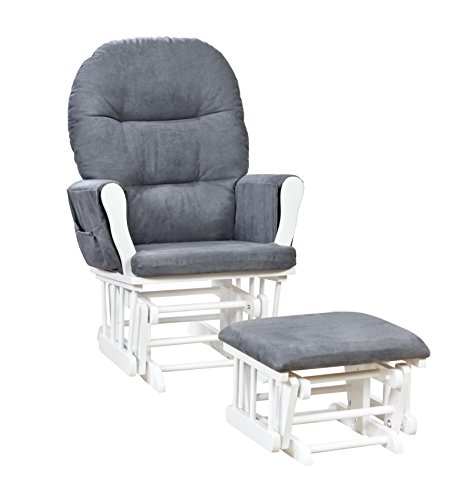 Naomi Home Brisbane Glider and Ottoman Set White/Dark Gray