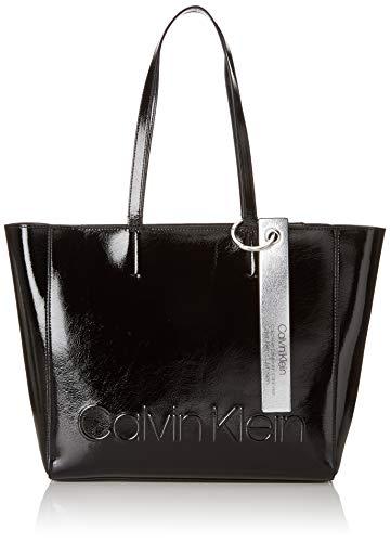 Calvin Klein Damen Edged Shopper S Tote, Schwarz (Black), 10x28x32 cm