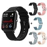 Wonderful Day Reloj Inteligente Hombres Mujeres Deporte IP67 Reloj Impermeable Reloj de frecuencia cardíaca Monitor de presión Arterial Smartwatch para iOS Android, Negro con 5 Correas
