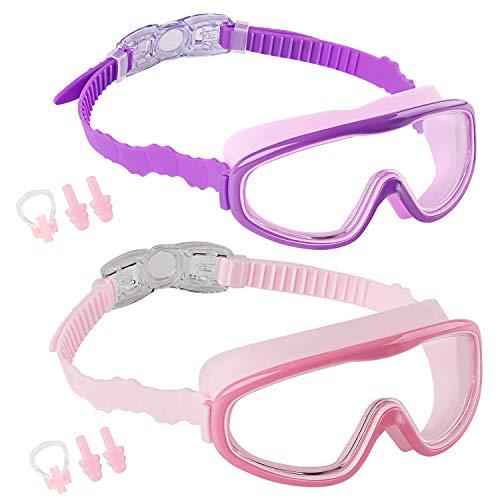 Elimoons Gafas de natación para niños, paquete de 2 para niños y adolescentes de 5 a 15 años de edad, visión amplia, antiniebla, impermeable, protección UV.