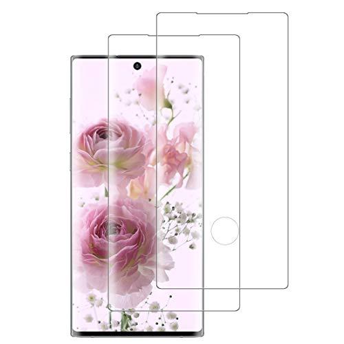 XSWO 2 Unidades Cristal Templado para Galaxy Note 10, Protector de Pantalla para Samsung Galaxy Note 10, [3D Cobertura Completa] [9H Dureza] [Sin Burbujas] [Fácil Instalar] Vidrio Templado