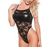 cinnamou Damen sexy Ouvert Body Lack Leder Bodysuit Netz Unterwäsche Stringbody transparente Body Babydoll Reizwäsche Schwarz PU-Leder -