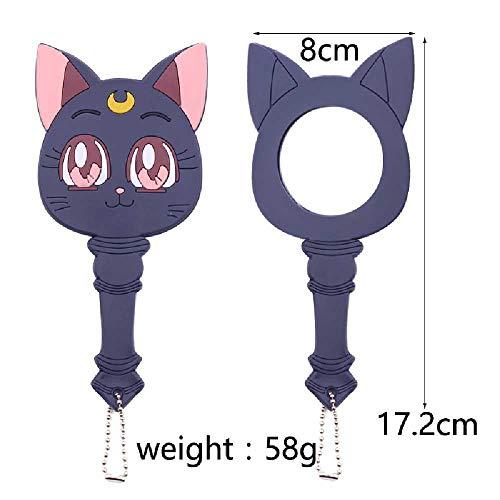 meixiang Süße Katze Spiegel, Tragbare Anime Spiegel, Kleidung Make-up Spiegel Lila